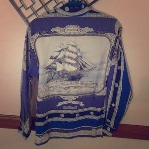 Ellen Tracy Nautical Silk Blouse